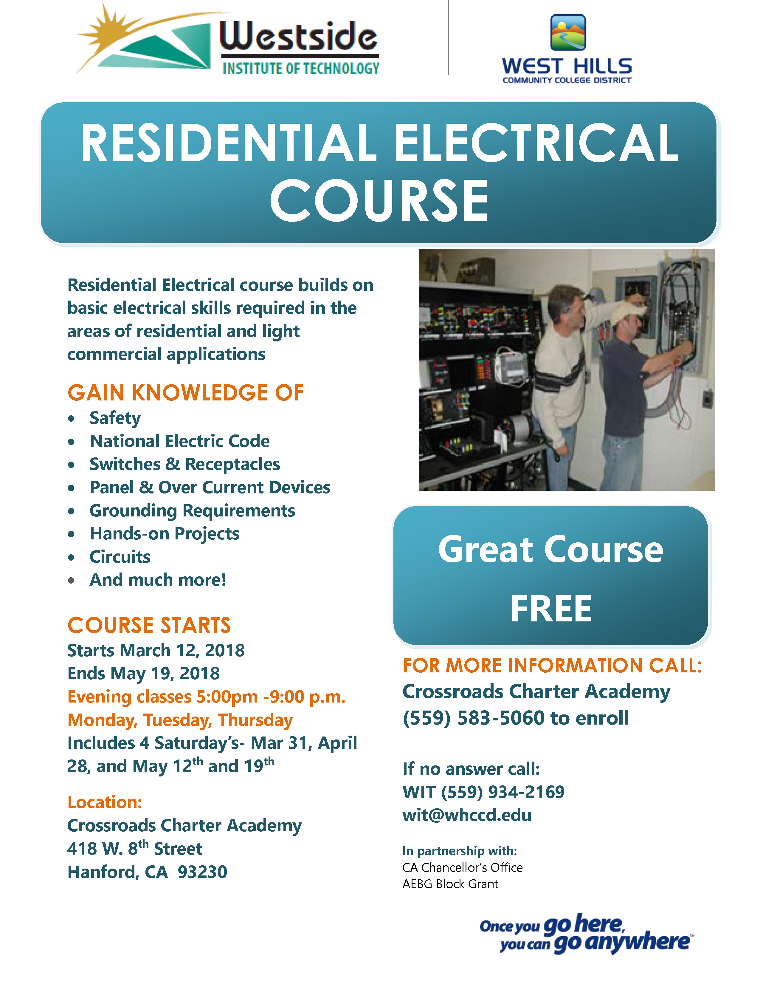 Residential Electric Courses Now Enrolling