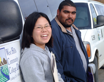 international student with whcc transit bus