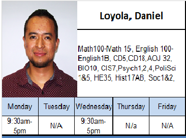 Loyola, Daniel. For schedule information, call 559-934-2965