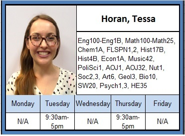 Horan, Tessa. for schedule information, call 559-934-2965