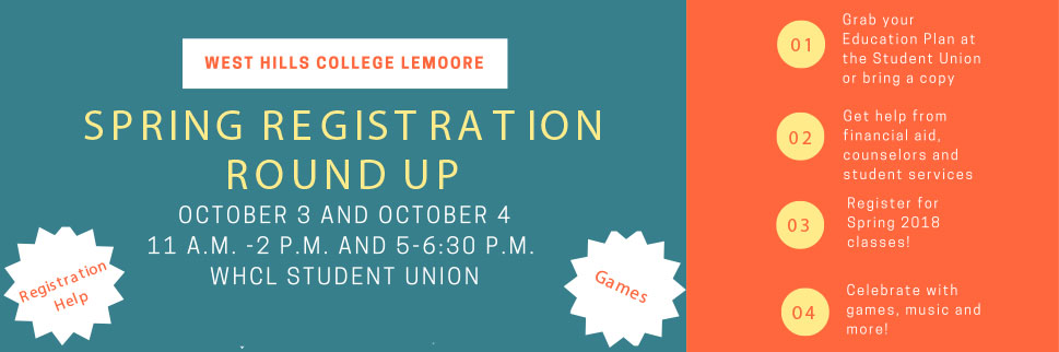 WHC Lemoore - Registration Round up, October 3 & 4 at Student Union